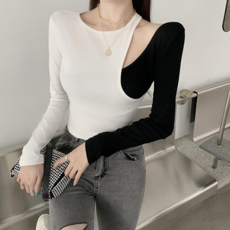 Chic color unbalanced shoulder long sleeve tee