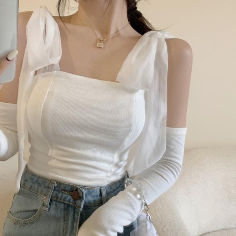 Romantic Ribbon Top Shoulder Arm Detachable Set