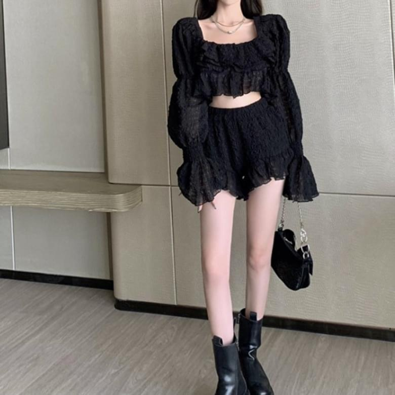 pleated bubble line ruffle black two-piece