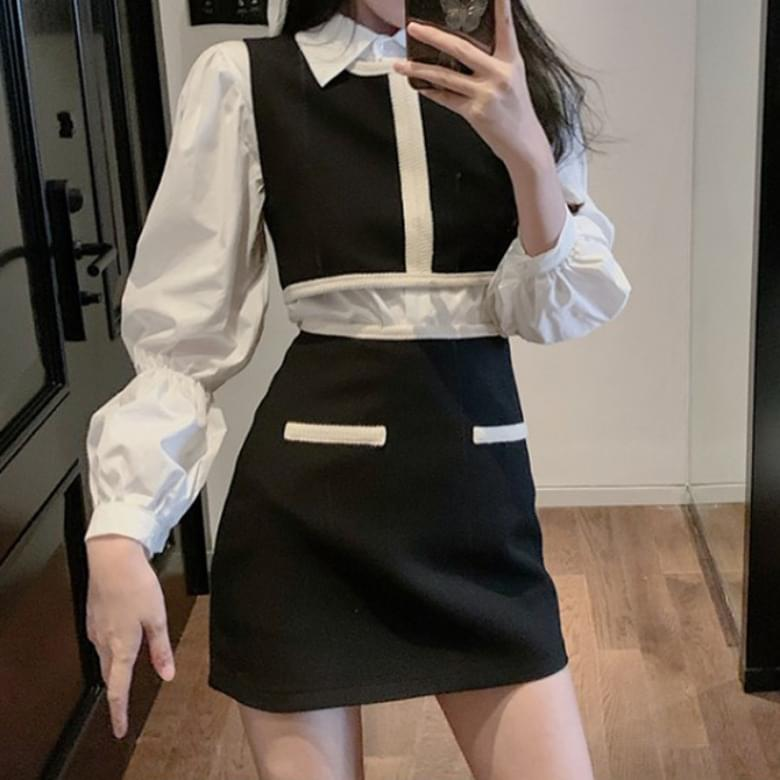 Popular item Louis blouse vest skirt 3 sets