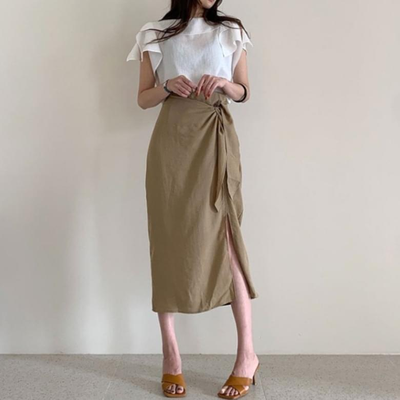 Modern Ruffle Blouse Knotted Skirt Two Piece