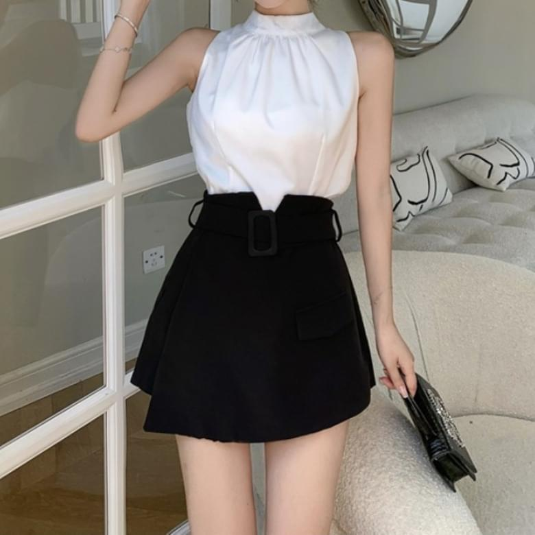 French Real Fit Blouse Pants Skirt Set