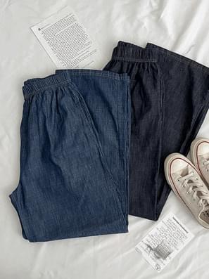 Faded Denim Banding Long Pants