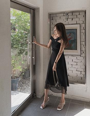 Double Chiffon Slit Long Skirt