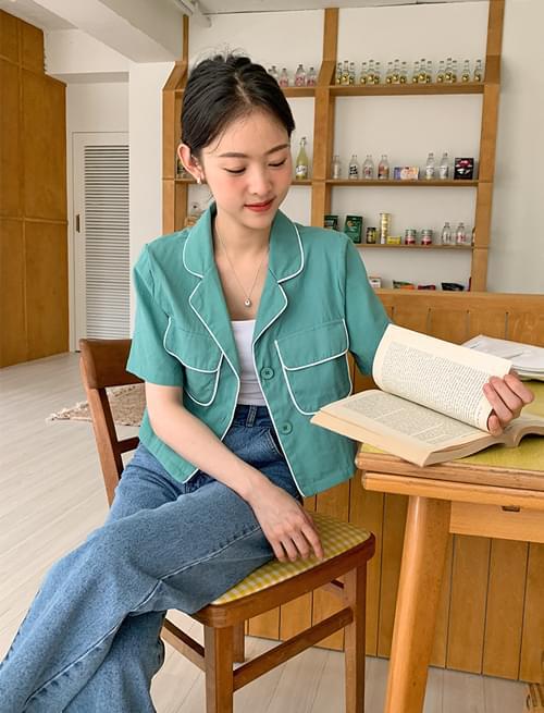 line pocket cropped blouse jacket