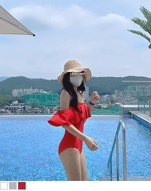 Yoong Off Shoulder Ruffle Bikini Monokini