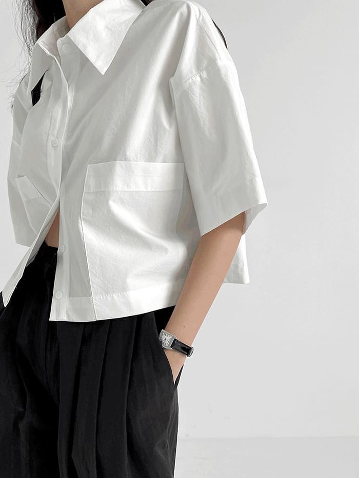보드 포켓 크롭 셔츠