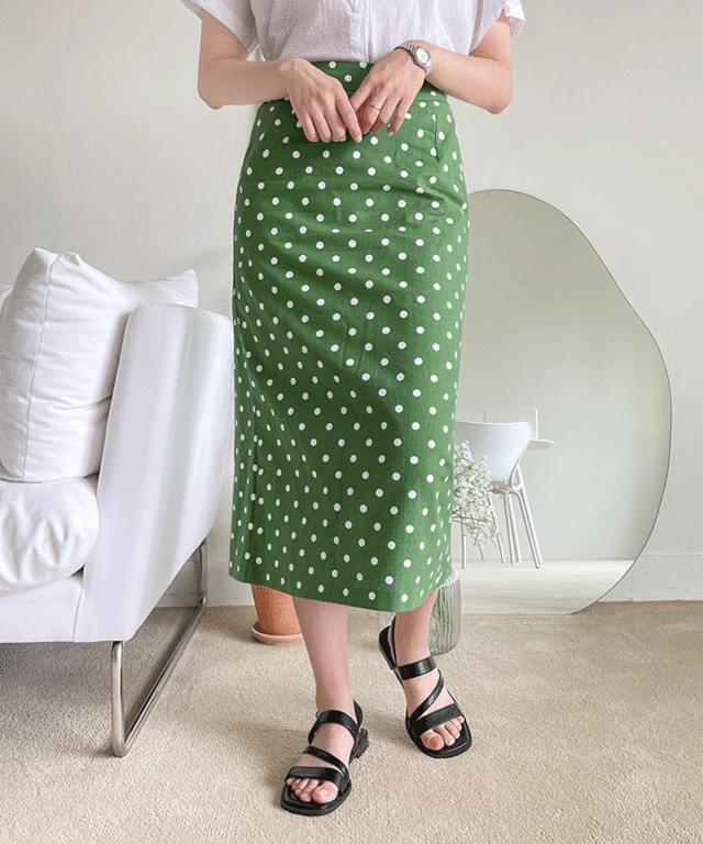 Big Size 26-34 Inch Deller Linen Dot Back Banding Long Skirt