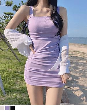 Glow side shirring sleeveless Dress