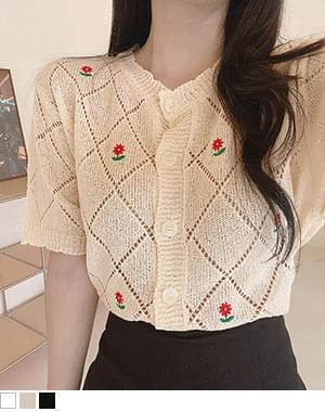 Maza Flower Embroidered Knitwear Cardigan