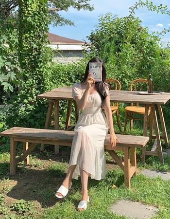 Nurs Square Neck Chiffon Long Dress