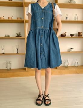 Button Denim Layered Mini Dress