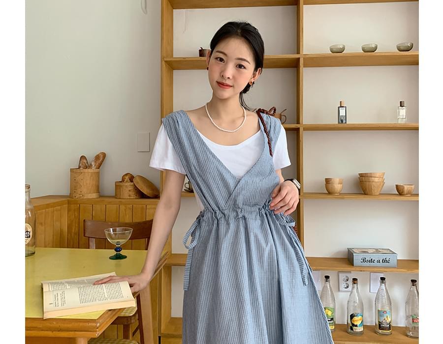 apron stripe long Dress