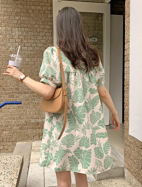 Palm Tree Square Puff Mini Dress