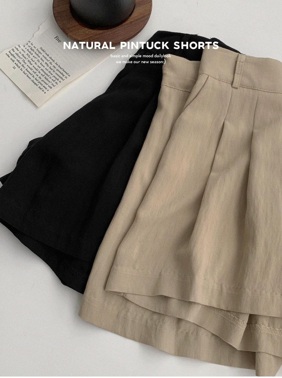 壓褶後鬆緊側拉鍊短褲