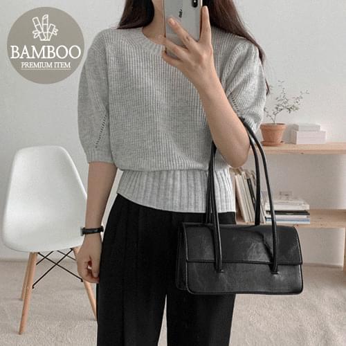 Bamboo Round Puff Short Sleeve Knitwear