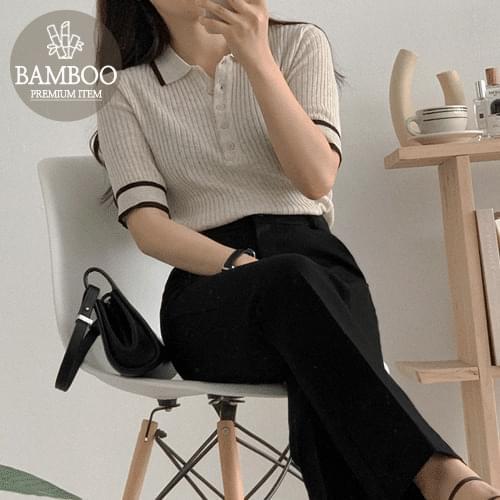 Bamboo Color Collar Short Sleeve Knitwear