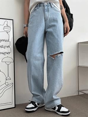 Int Knee Vintage Denim Wide Pants