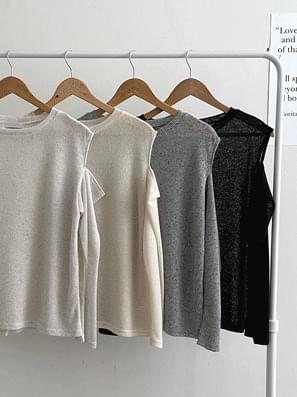 Split Shoulder Linen Knitwear Long Sleeve Tee