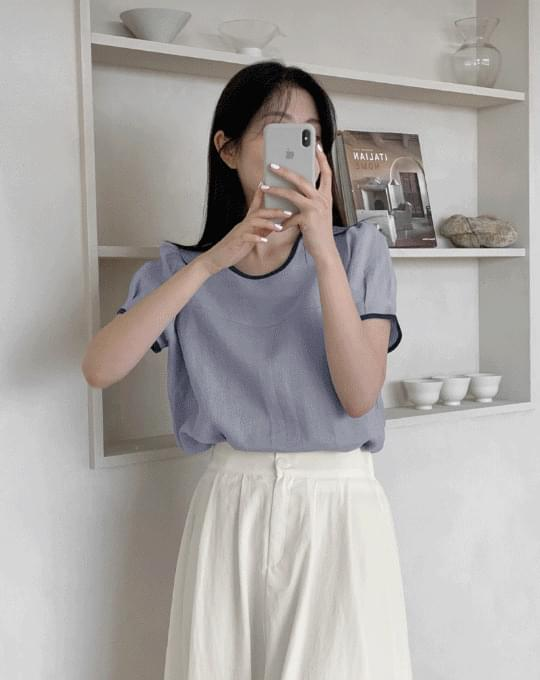 Slate round color matching linen short sleeve blouse - 2 color