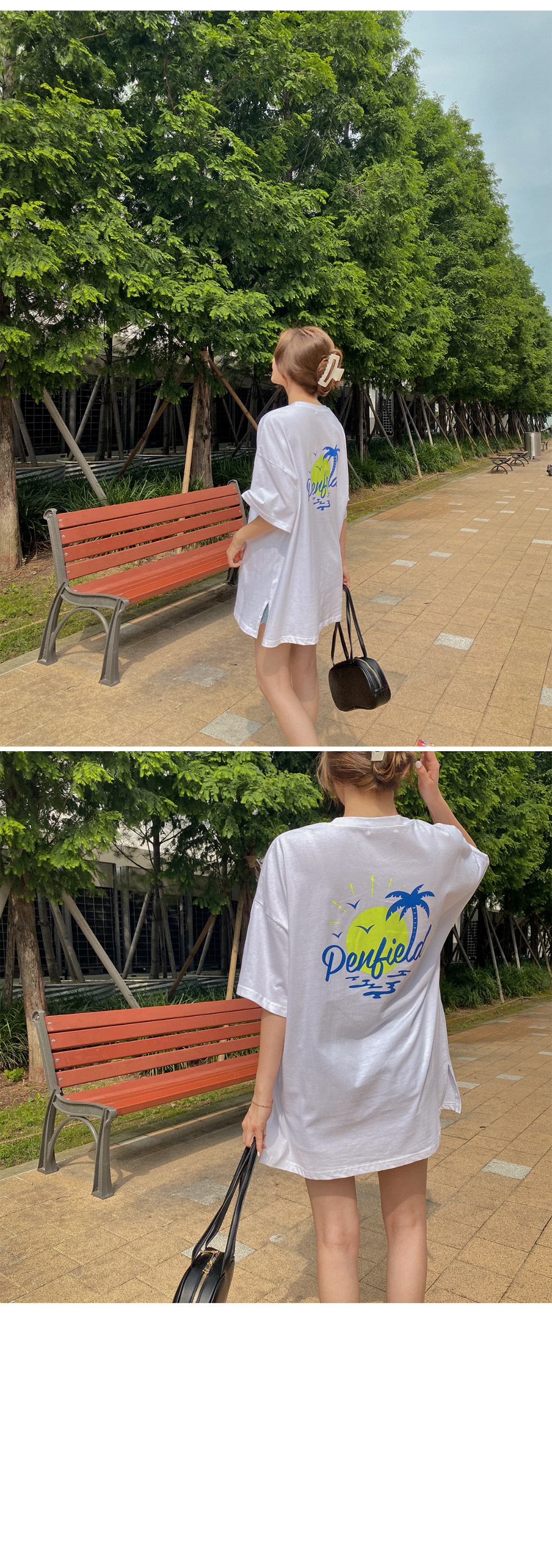Palm Tree Over Short Sleeve T-shirt - 2color