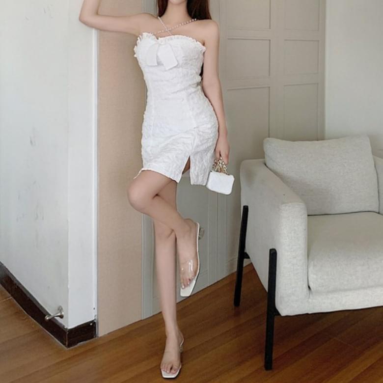 pearl cross top ruffle ribbon slit Dress