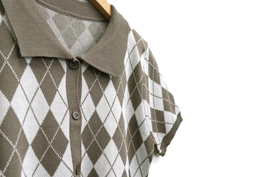 Elite Argyle Crop Short Sleeve Cardigan