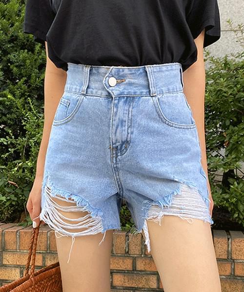 Damaged Hem Vintage Denim Short Pants