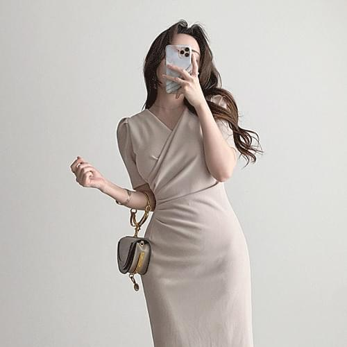 Straight glamping fit Spandex wrap shirring midi Dress 2color