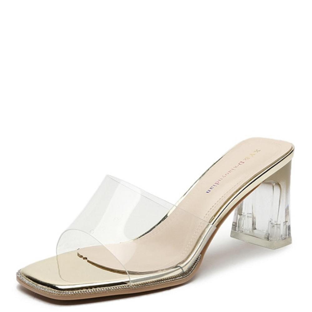 Transparent cubic high heel mules slippers gold