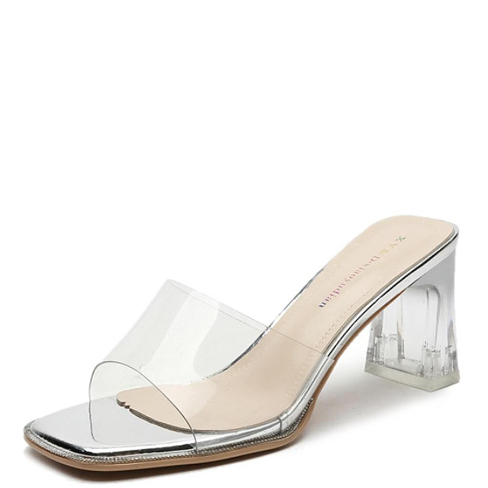 Transparent cubic high heel mules slippers silver