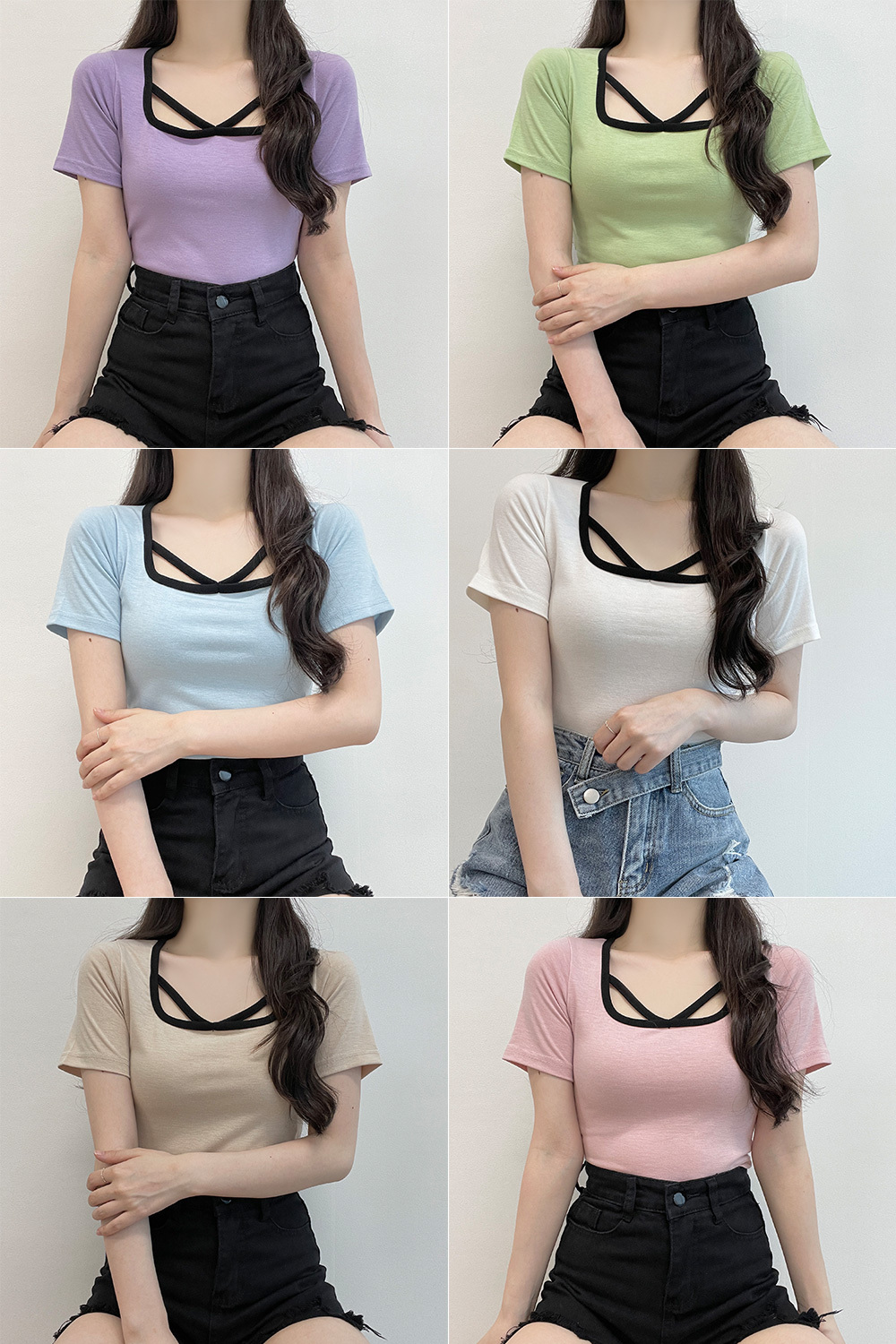 Rainbow, 7 color matching strap cropped short sleeve T-shirt