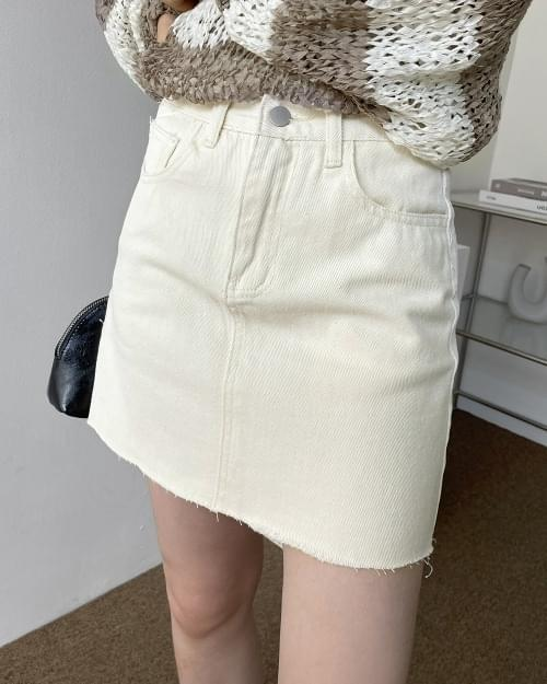 Eye Cotton Cut A-Line Mini Skirt