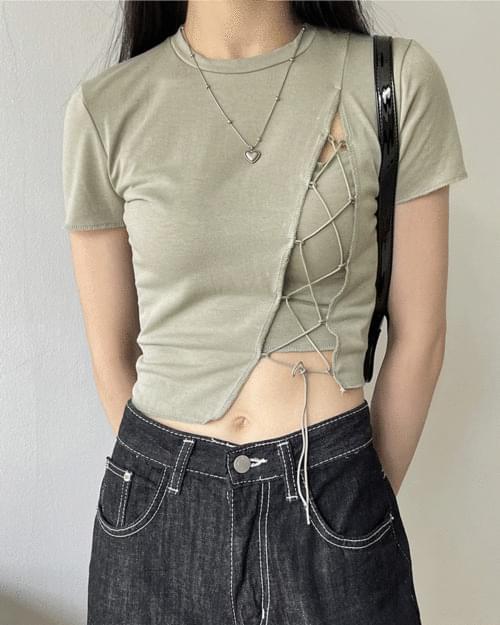 Dare Strap Corset Split Crop Short Sleeve T-shirt