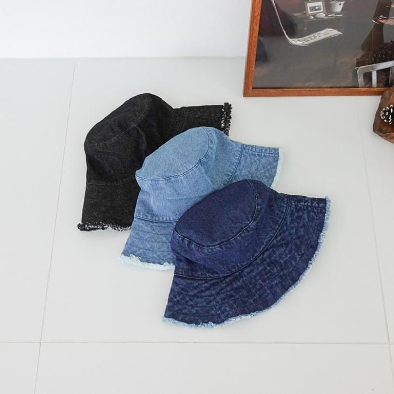denim wave line bucket hat