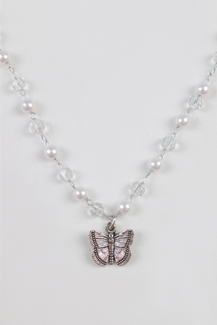 Butterfly Pearl Bead Choker Necklace