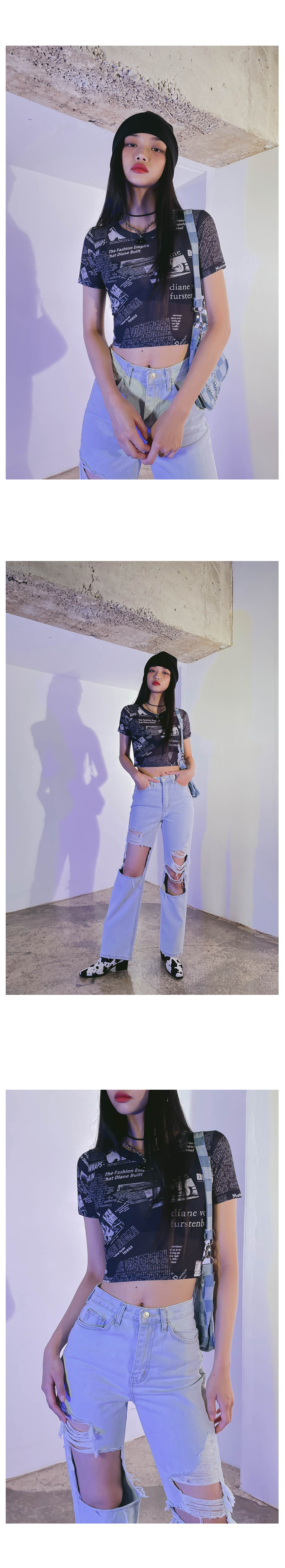 Paper Poing Crop T-shirt