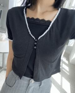 lace bean button short sleeve cardigan