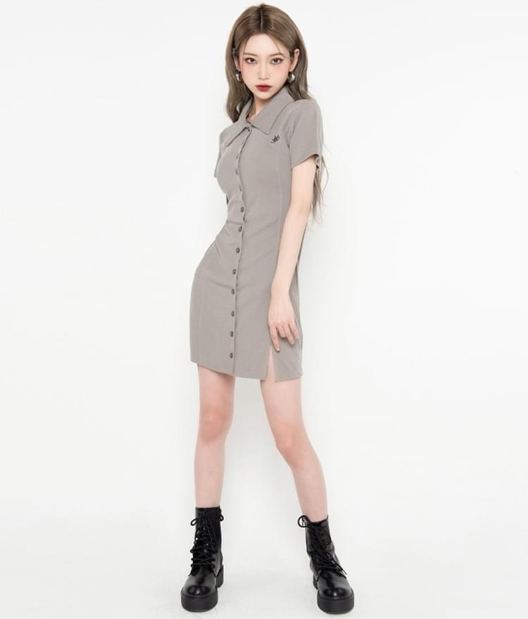 HIDELight Khaki Button-Front Dress 迷你短洋裝