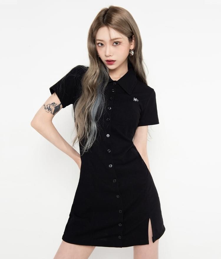 HIDEBlack Button-Front Dress