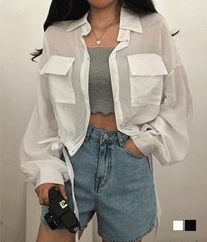Lovett see-through string cropped shirt jacket