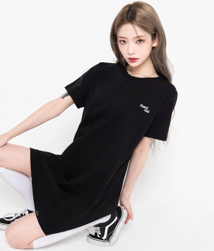 HEART CLUBBlack T-Shirt Dress