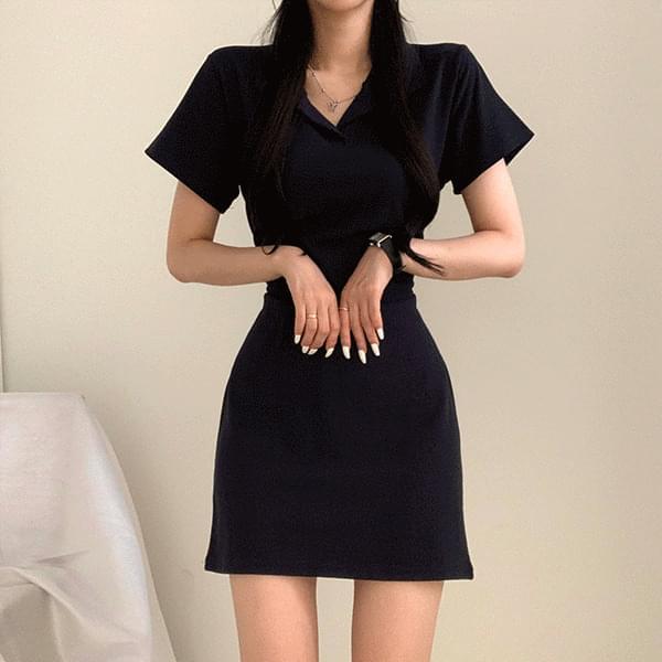 Pretty line candy collar Dress