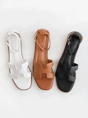 Vacation Leather Strap Sandals 1cm