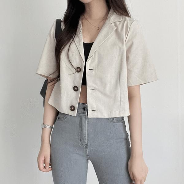 lightweight linen cropped jacket