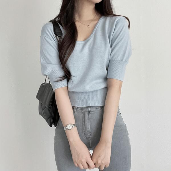 Cashmere U Neck Short Sleeve Knitwear