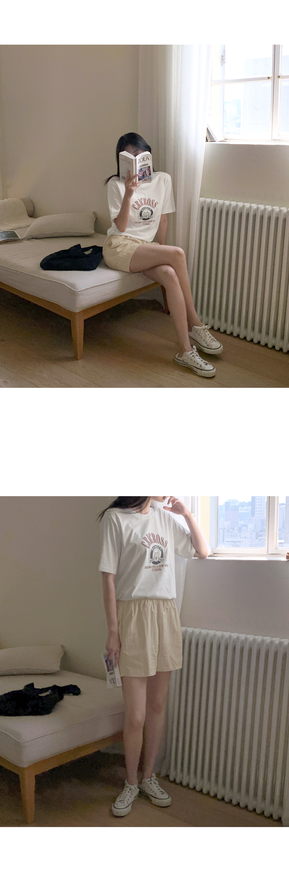 Ronic Printing Round Short Sleeve T-shirt - 4 color