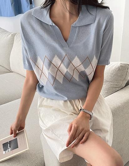 Argyle Linen Collar Knitwear