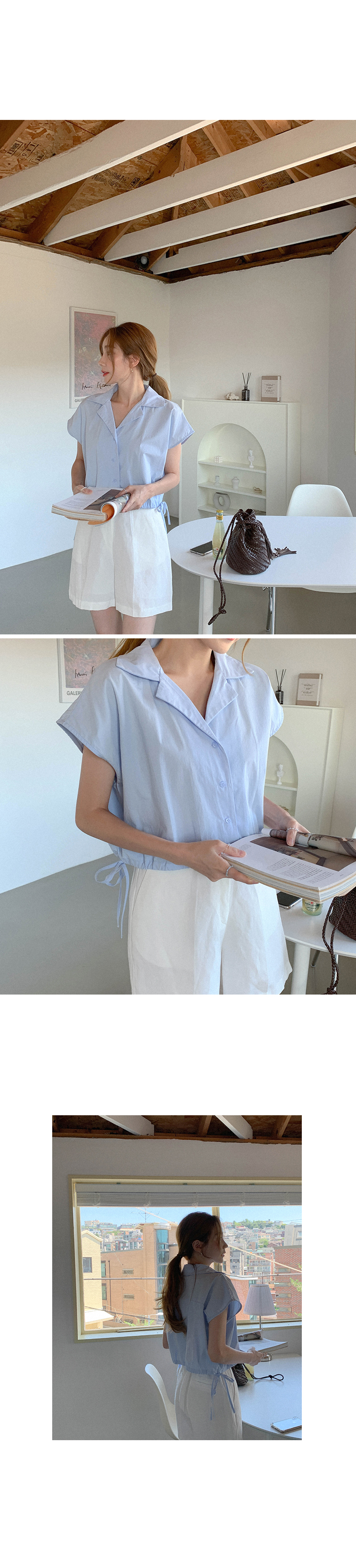 Loose-fit stingray string blouse