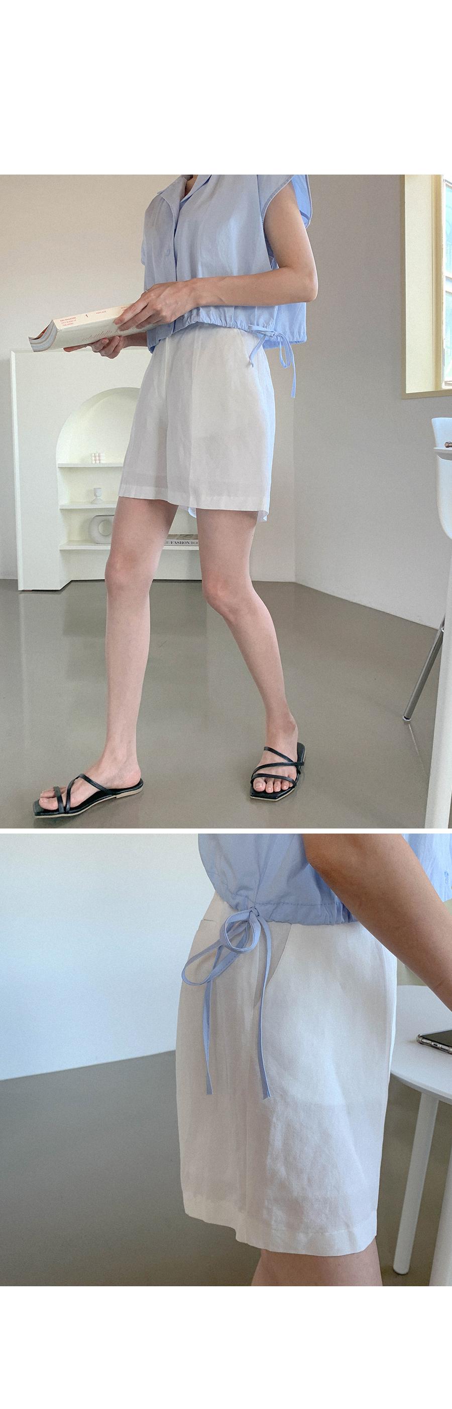 Loose Fit Linen Half Pants